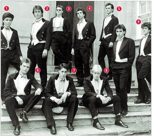 DAvid Cameron (2) et Boris Johnson, actuel maire de Londres (8), à l'époque du Bullingdon club.