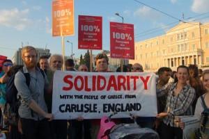 Manifestation de solidarité avec la Grèce à Carlisle