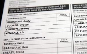 bulletin de vote Labour leadership