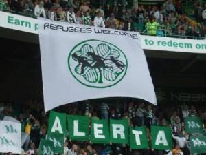 Banderole affichée par les ultras du Celtic Glasgow