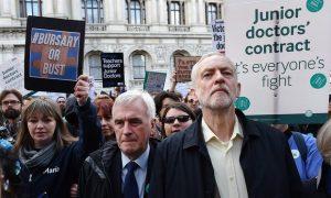 Corbyn et McDonnell lors de la manifestation des junior doctors le 26 avril