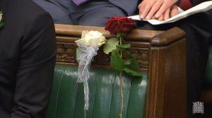 La place de Jo Cox à la chambre des Communes, ornée d'une rose blanche symbole de son Yorkshire natal